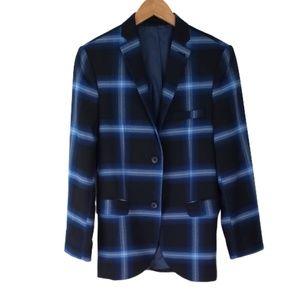 Topman Bright Blue and Navy Plaid Blazer